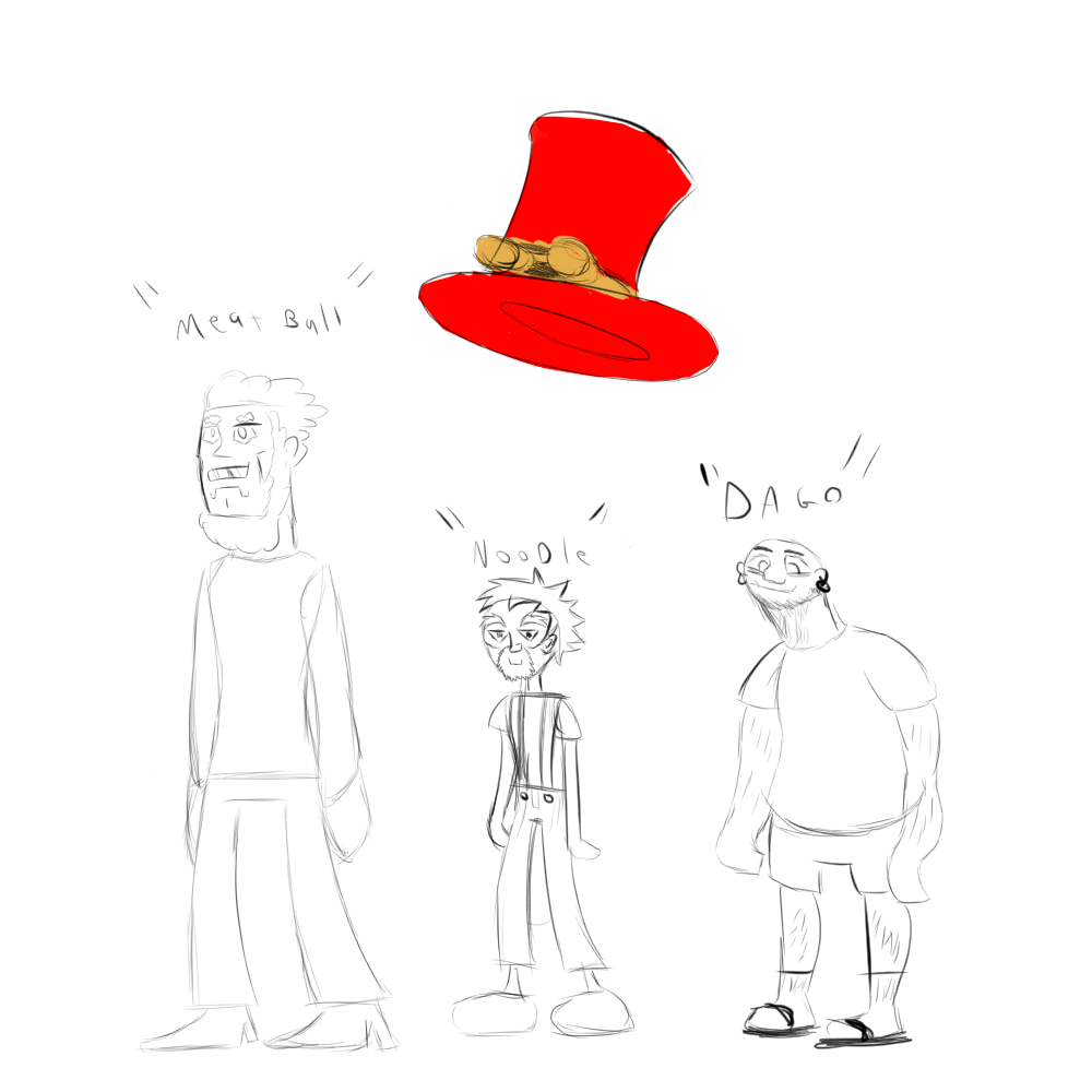 Meatball, Noodles, and Dago are shown with ToonKritic's hat